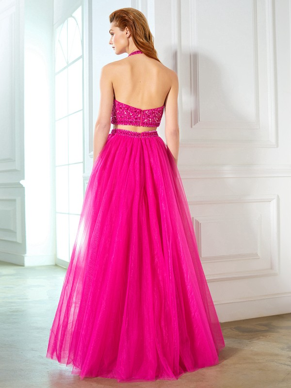 Beautiful A-Line Halter Sleeveless Net Floor-Length Two Piece Dress