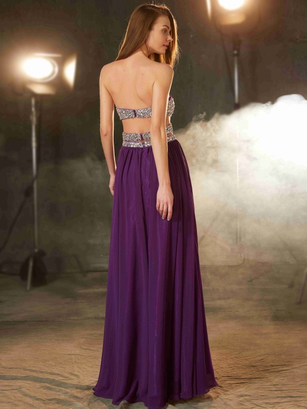 Cheap A-Line Sweetheart Sleeveless Floor-Length Chiffon Dress