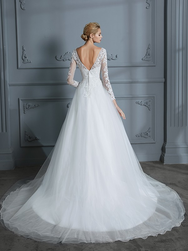 Unique Ball Gown V-neck Long Sleeves Court Train Lace Tulle Wedding Dress