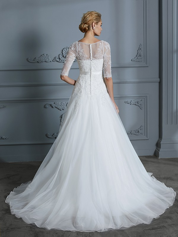 Unique A-Line 1/2 Sleeves Scoop Lace Court Train Tulle Wedding Dress