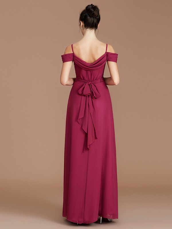 Fancy A-Line Off-the-Shoulder Sleeveless Floor-Length Chiffon Bridesmaid Dress