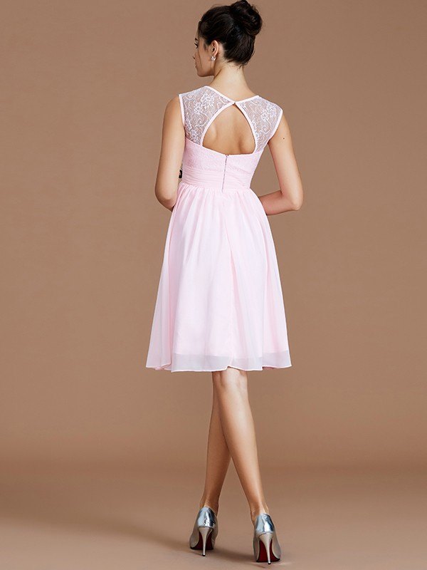 Fancy A-Line Sweetheart Sleeveless Lace Short/Mini Chiffon Bridesmaid Dress