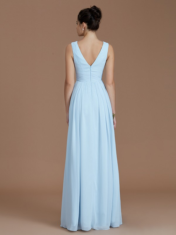 Fancy A-Line V-neck Sleeveless Floor-Length Chiffon Bridesmaid Dress