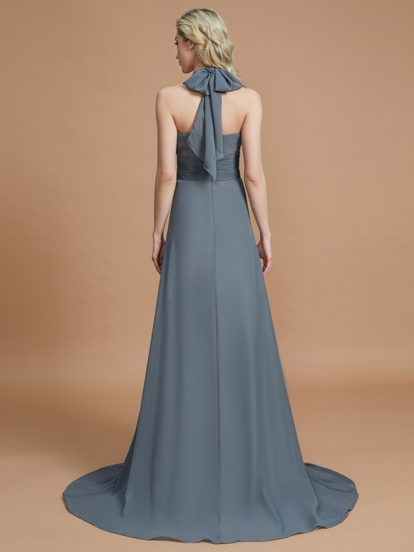 Gorgeous A-Line Halter Sleeveless Chiffon Sweep/Brush Train Bridesmaid Dress