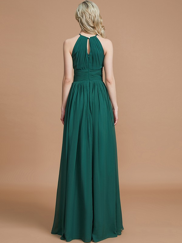 Gorgeous A-Line Chiffon Scoop Sleeveless Floor-Length Bridesmaid Dress