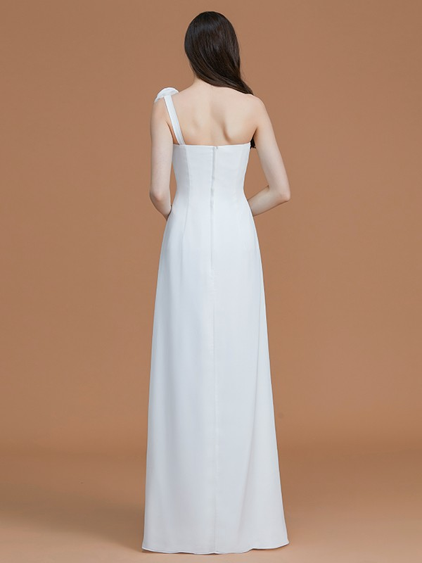 Elegant A-Line One-Shoulder Sleeveless Floor-Length Chiffon Bridesmaid Dress