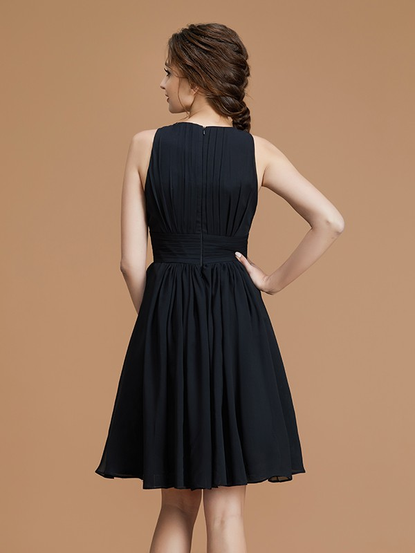 New A-Line Bateau Sleeveless Short/Mini Chiffon Bridesmaid Dress