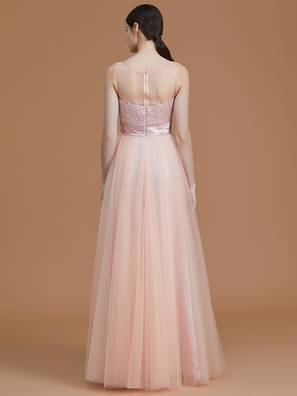 New A-Line Bateau Sleeveless Floor-Length Tulle Bridesmaid Dress