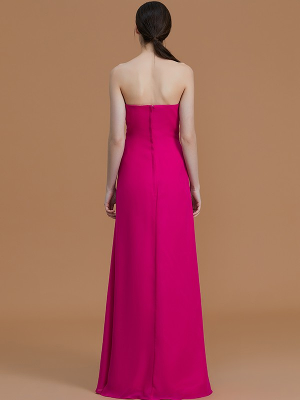 Unique A-Line Strapless Sleeveless Floor-Length Chiffon Bridesmaid Dress
