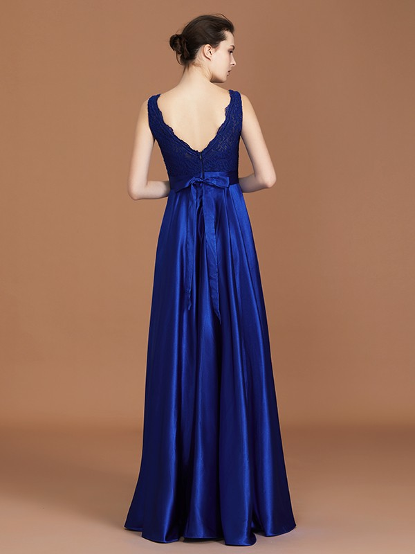 Stylish A-Line V-neck Sleeveless Satin Asymmetrical Lace Bridesmaid Dress