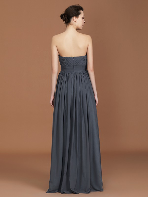 Exquisite A-Line Asymmetrical Sleeveless Sweetheart Floor-Length Chiffon Bridesmaid Dress