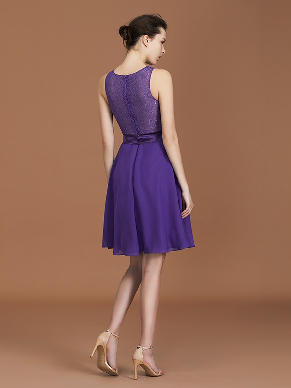 New A-Line Lace Knee-Length Sleeveless Bateau Chiffon Bridesmaid Dress