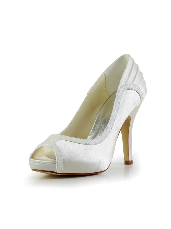Exquisite Women Satin Stiletto Heel Ivory Wedding Shoes