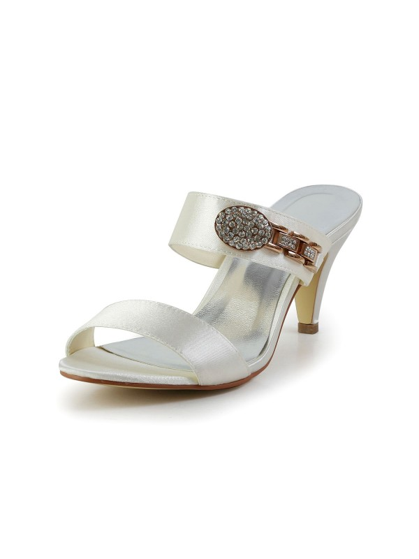 Exquisite Women Attractive Satin Peep Toe Cone Heel Ivory Sandal Shoes