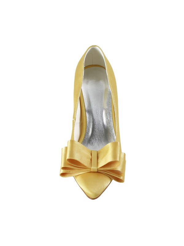 Exquisite Women Satin Spool Heel Closed Toe Gold Wedding Shoes