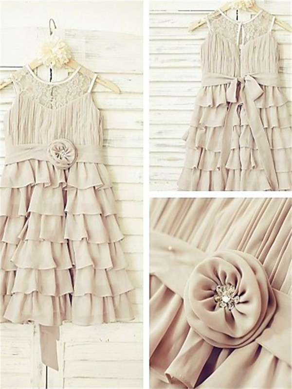 Nice A-line Scoop Sleeveless Tea-length Chiffon Flower Girl Dress