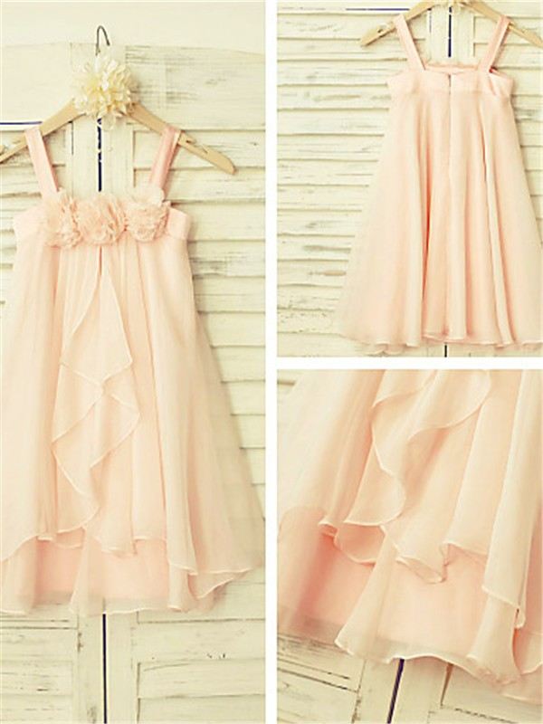 New A-line Spaghetti Straps Sleeveless Tea-Length Chiffon Flower Girl Dress