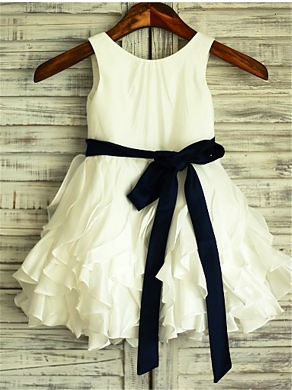 Elegant A-line Scoop Sleeveless Tea-Length Chiffon Flower Girl Dress