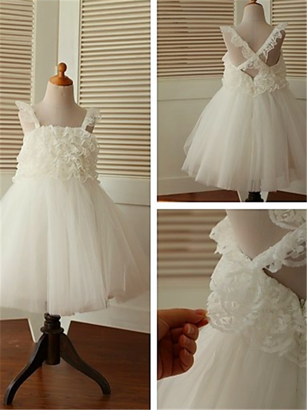 Perfect A-line Sleeveless Straps Tea-Length Organza Flower Girl Dress