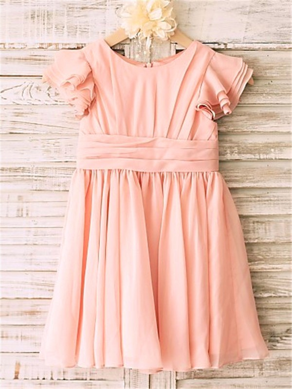 Exquisite Princess Scoop Tea-Length Chiffon Flower Girl Dress