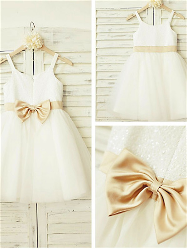 Stunning A-line Spaghetti Straps Sleeveless Knee-Length Tulle Flower Girl Dress