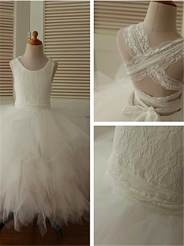 Gorgeous Ball Gown Scoop Sleeveless Lace Ankle-Length Organza Flower Girl Dress