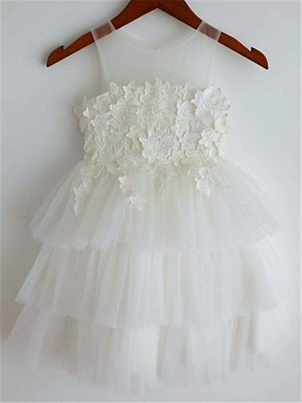 Exquisite A-line Straps Sleeveless Lace Tea-Length Tulle Flower Girl Dress