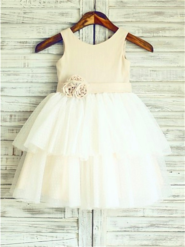 Charming A-line Straps Sleeveless Tea-Length Tulle Flower Girl Dress