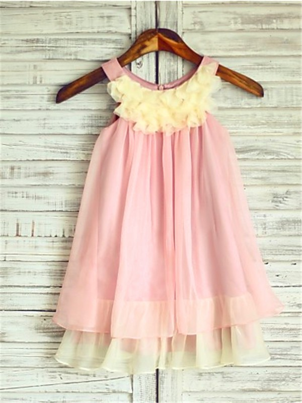 Beautiful A-line Straps Sleeveless Tea-Length Chiffon Flower Girl Dress