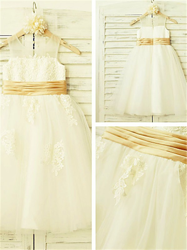New A-line Sleeveless Scoop Lace Tea-Length Tulle Flower Girl Dress