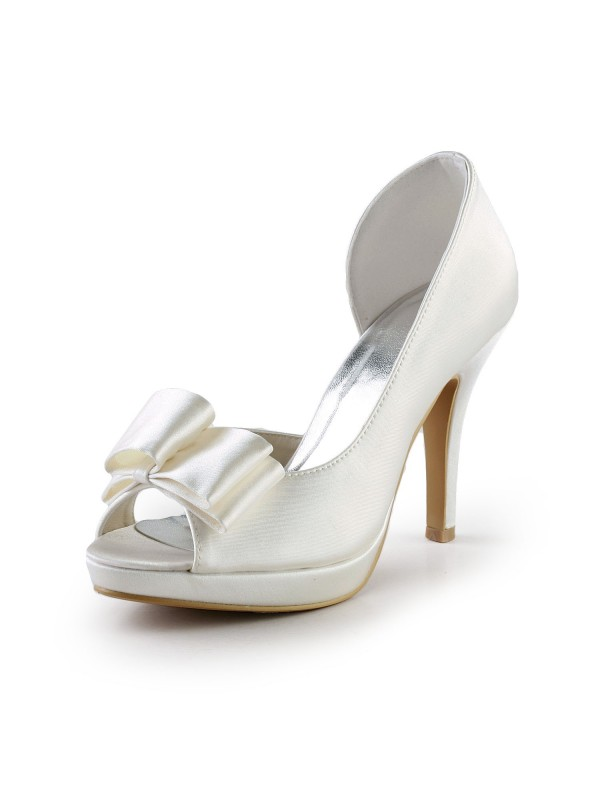 Exquisite Women Handmade Sweet Leather Butterfly Ivory Wedding High Heel Shoes