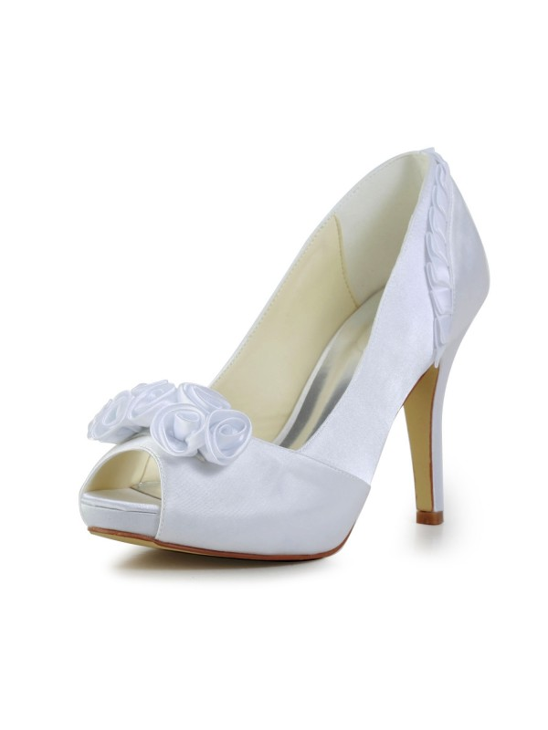 Exquisite Women Fabulous Satin Stiletto Heel Pumps Flower White Wedding Shoes
