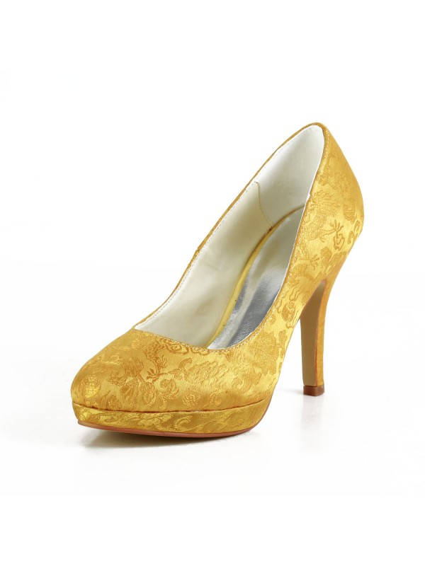 Exquisite Women Satin Stiletto Heel Closed Toe Platform Gold Wedding Shoes