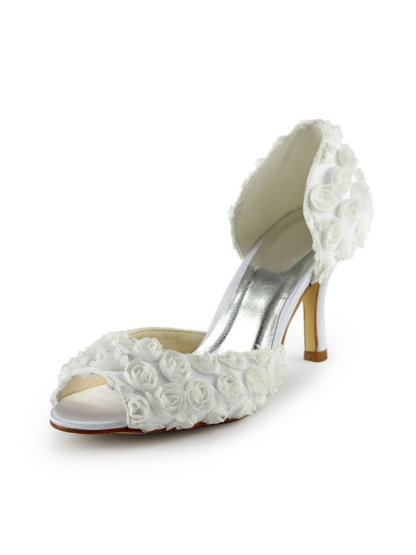 Exquisite Women Satin Stiletto Heel Peep Toe Flowers White Wedding Shoes
