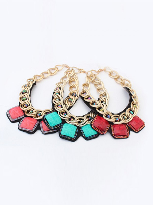 Stylish Occident Hyperbolic Metallic thick chains Personality Necklace