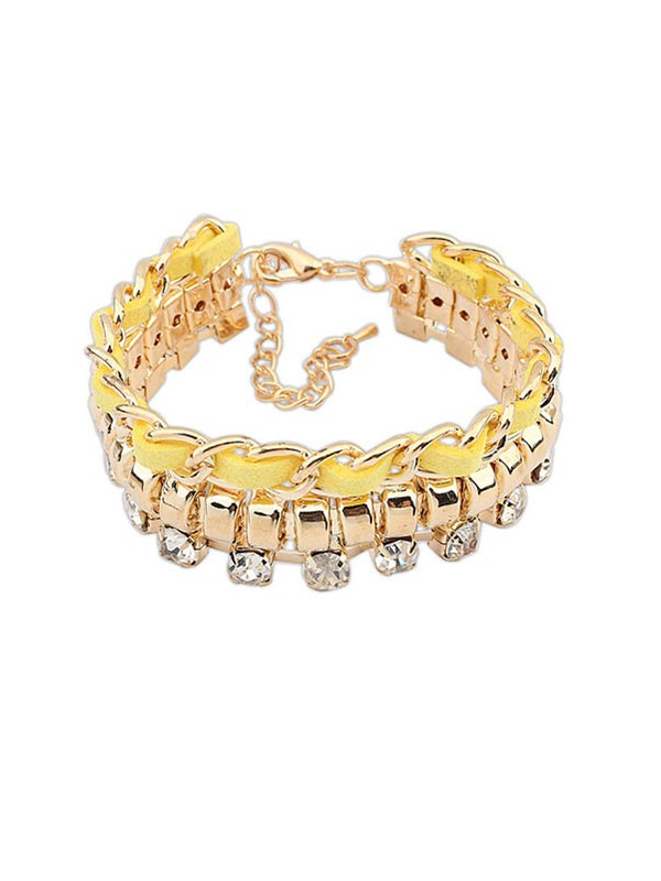 Gorgeous Occident New Flash Drilling Woven Bracelet