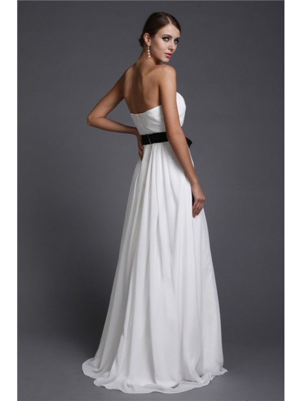 Gorgeous Sheath Strapless Long Sleeveless Chiffon Bridesmaid Dress