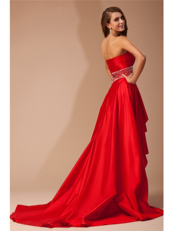 Hot Sale A-Line Strapless High Low Sleeveless Taffeta Dress