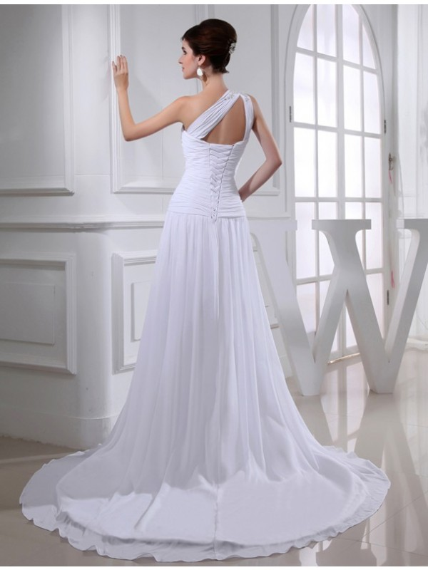 Modest A-Line One-shoulder Sleeveless Chiffon Wedding Dress