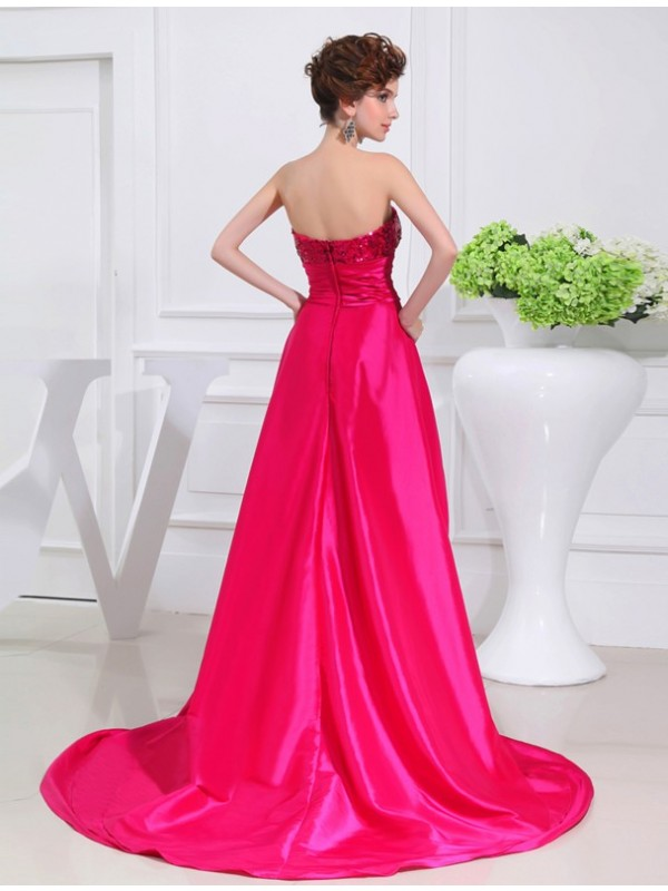 Hot Sale A-Line High Low Strapless Sleeveless Taffeta Dress