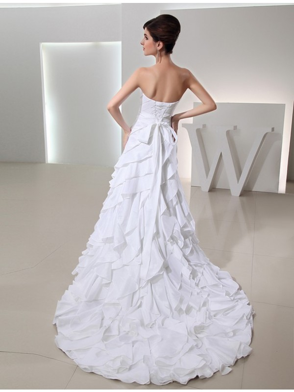 Modest A-Line Long Sweetheart Sleeveless Taffeta Wedding Dress