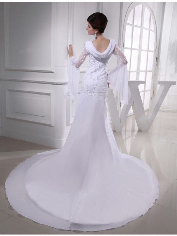 Modest Mermaid V-neck Chiffon Long Wedding Dress