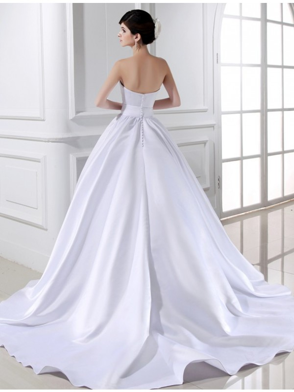 Beautiful Ball Gown Strapless Sleeveless Long Satin Wedding Dress