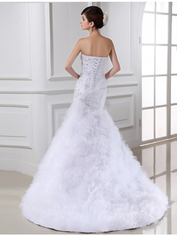 Beautiful Mermaid Sleeveless Tulle Long Wedding Dress