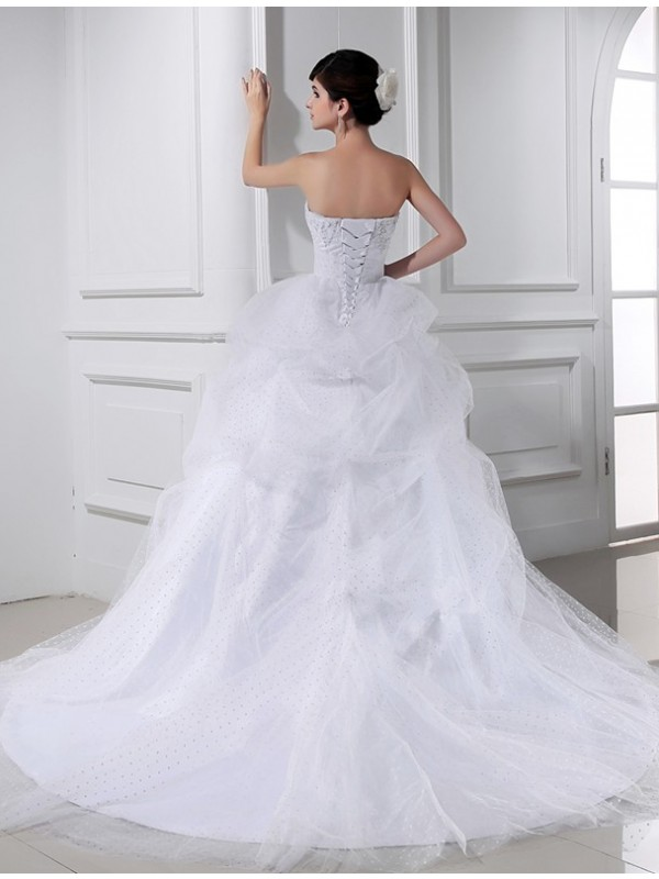Beautiful Ball Gown Sweetheart Sleeveless Satin Tulle Wedding Dress