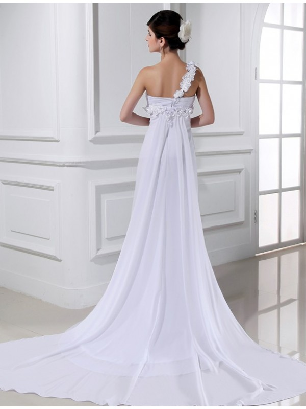Beautiful A-Line One-shoulder Sleeveless Chiffon Wedding Dress