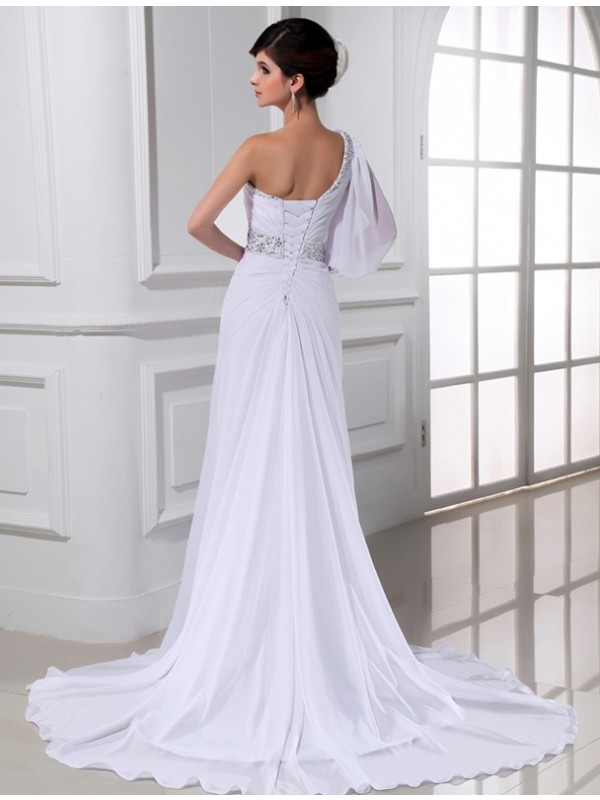 Beautiful A-Line One-shoulder One-sleeve Chiffon Wedding Dress