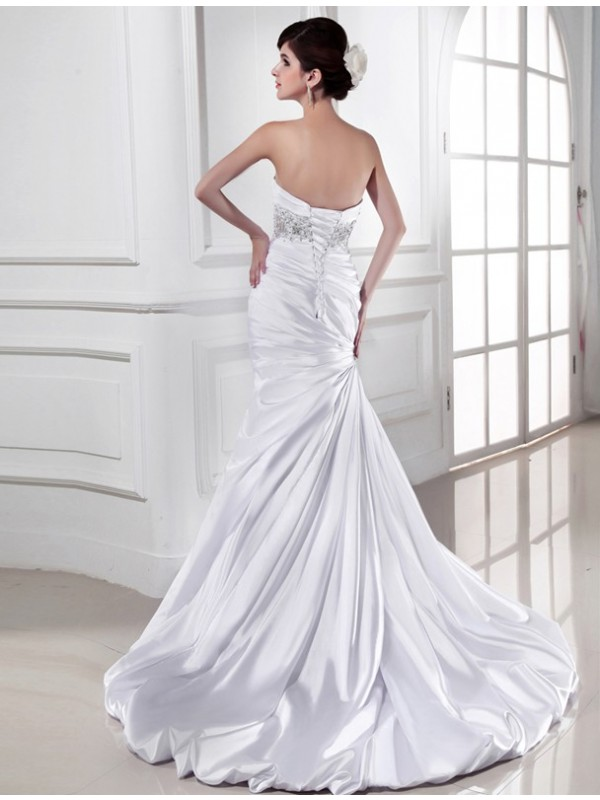 Beautiful Mermaid Sweetheart Sleeveless Elastic Woven Satin Wedding Dress