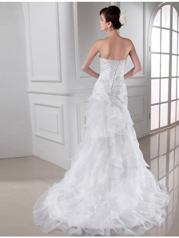 Beautiful Mermaid Sweetheart Sleeveless Organza Wedding Dress