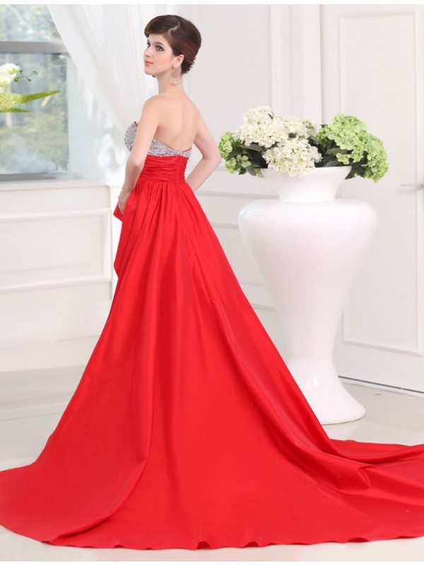 Hot Sale A-Line Sweetheart Sleeveless High Low Taffeta Dress